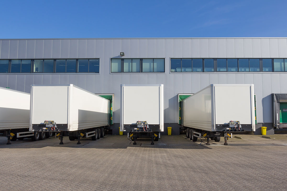 Photo of trailers docked at a docking station